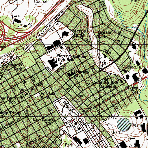 Topographic Map of David W Harlan Elementary School, DE