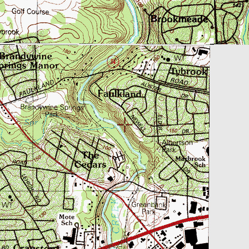 Topographic Map of Hyde Run, DE