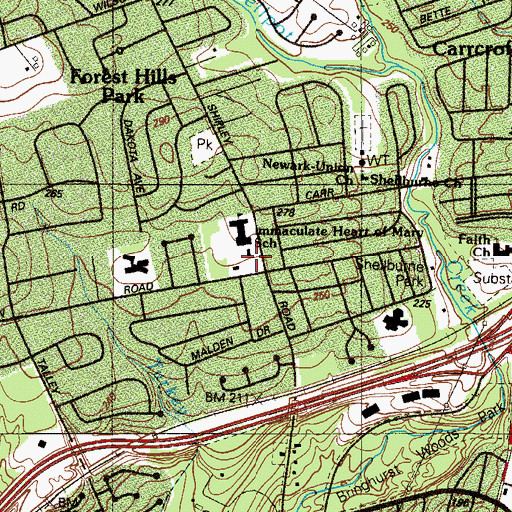 Topographic Map of Immaculate Heart of Mary School, DE