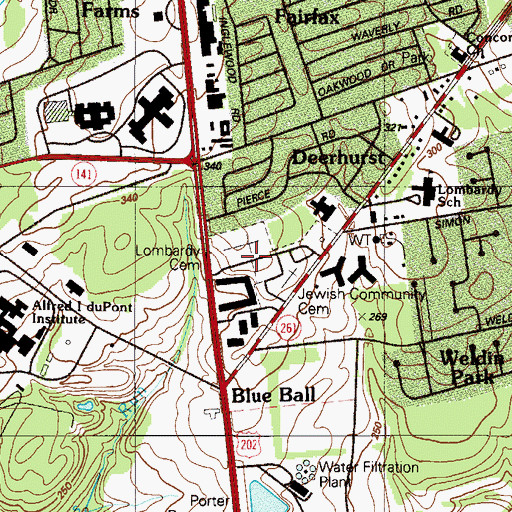 Topographic Map of Lombardy Cemetery, DE