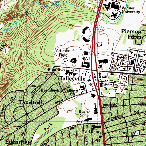 Topographic Map of The Pilot School, Incorporated, DE