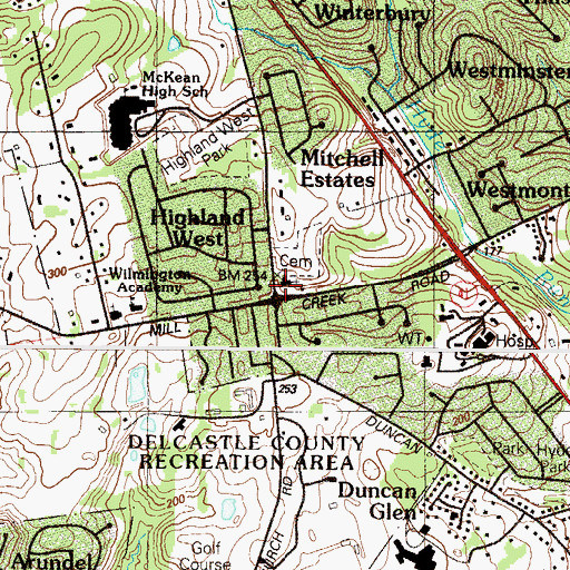 Topographic Map of Red Clay Creek Presbyterian Church, DE