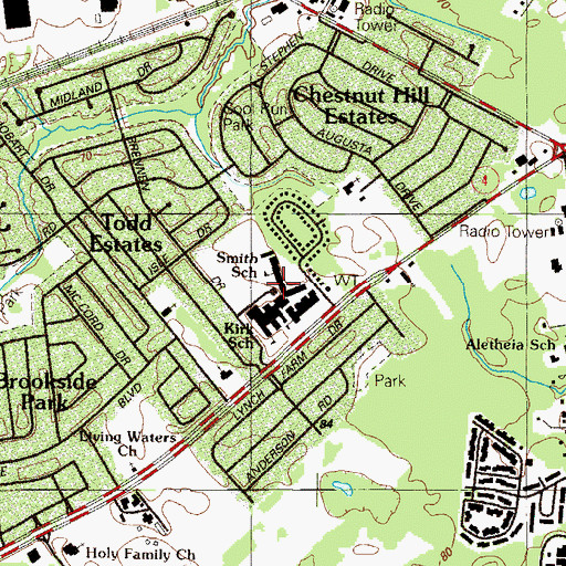 Topographic Map of Jennie E Smith Elementary School, DE