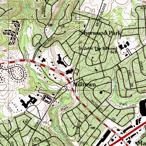 Topographic Map of Thomas Mckean High School, DE