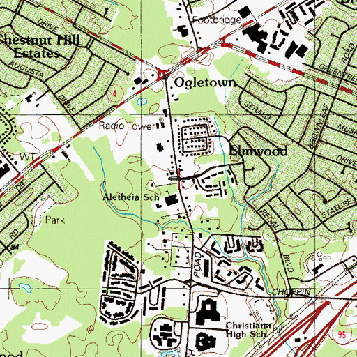 Topographic Map of Church of Christ, DE