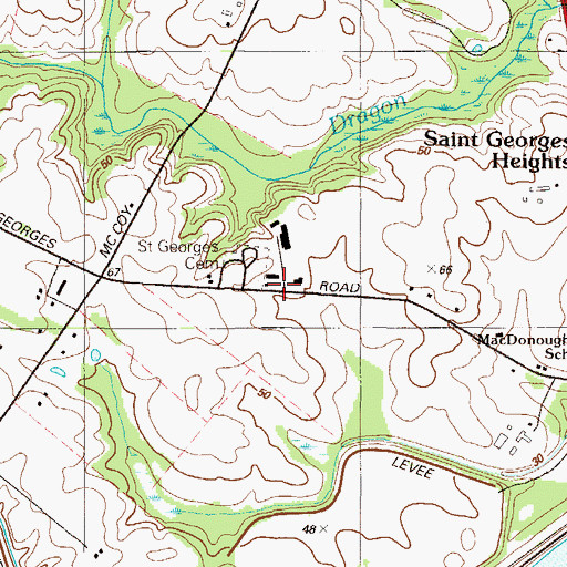 Topographic Map of Saint Georges United Presbyterian Church, DE