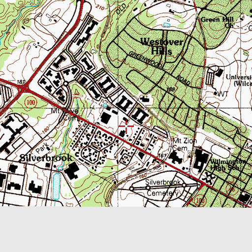 Topographic Map of Silverbrook United Methodist Church, DE