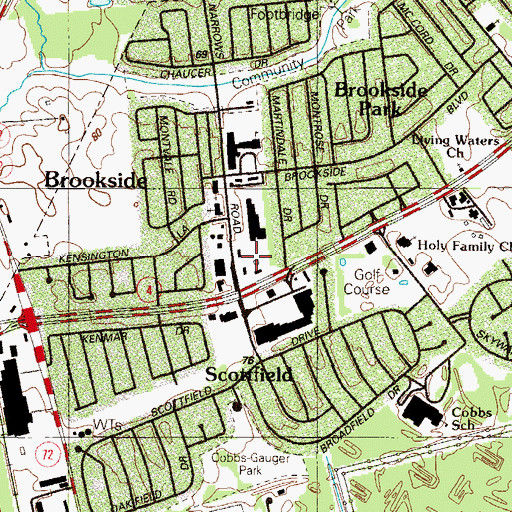 Topographic Map of Brookside Shopping Center, DE
