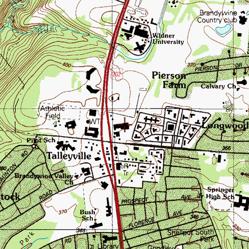 Topographic Map of Talleyville Shopping Center, DE