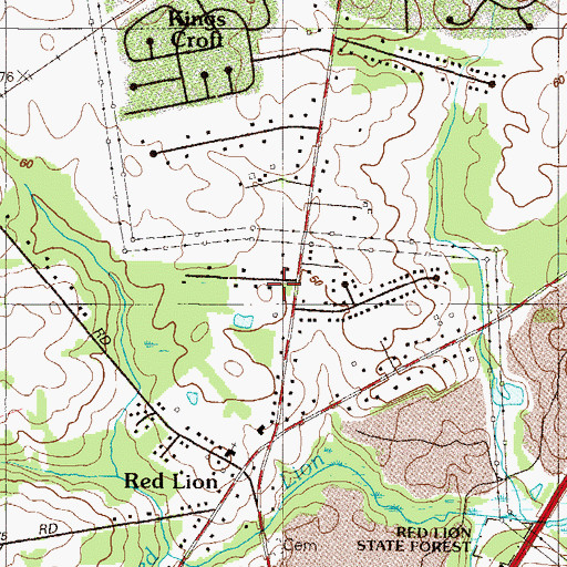 Topographic Map of Tolham Estates, DE