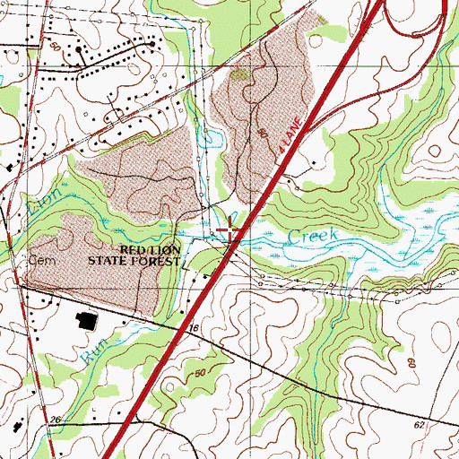 Topographic Map of Red Lion State Forest, DE