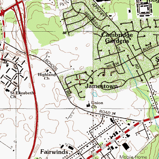 Topographic Map of Jamestowne, DE