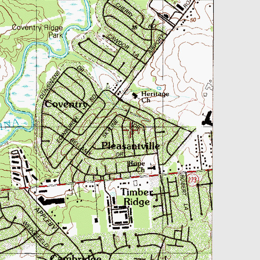 Topographic Map of Carriage Run, DE