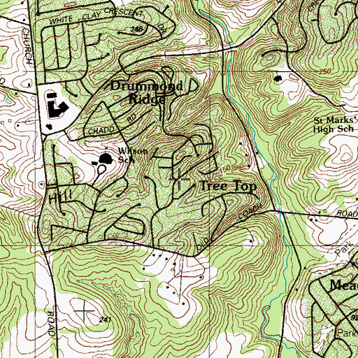 Topographic Map of Henderson Heights, DE