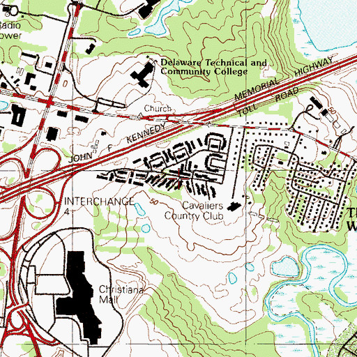 Topographic Map of Cavaliers Country Club Apartments, DE