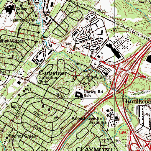 Topographic Map of Greentree, DE