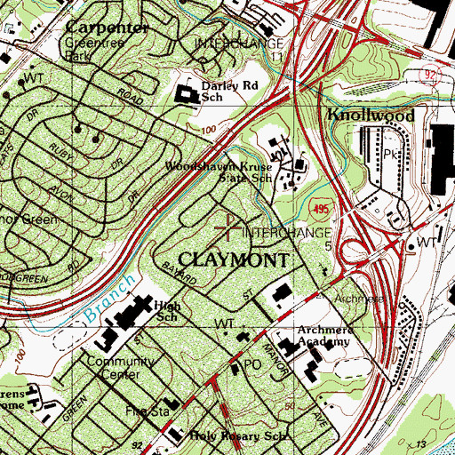 Topographic Map of Brookview, DE
