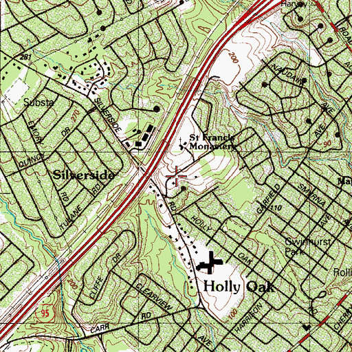 Topographic Map of Wembly, DE