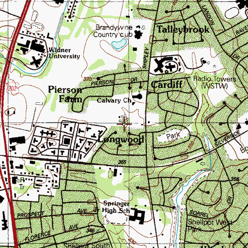 Topographic Map of Pierson Farms, DE