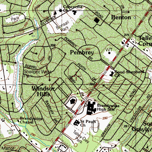 Topographic Map of Perth, DE
