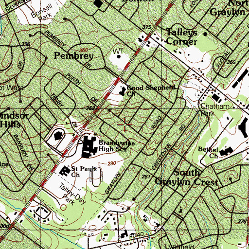 Topographic Map of Heatherbrooke, DE