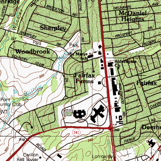 Topographic Map of Fairfax Farms, DE