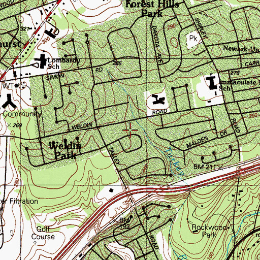Topographic Map of Rockwood Hills, DE