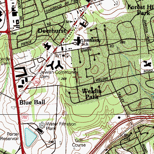 Topographic Map of Delwoods, DE