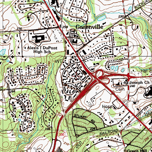 Topographic Map of Greenville Place, DE
