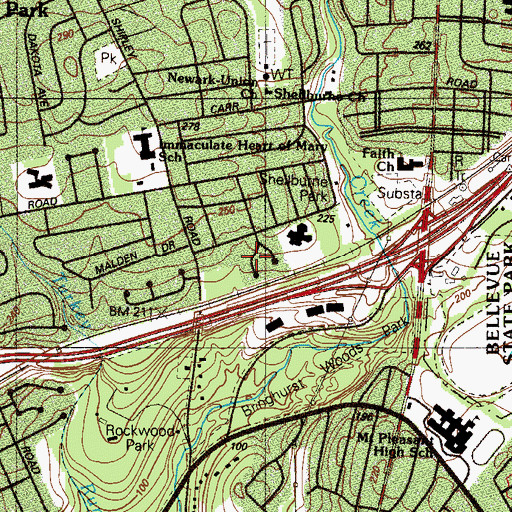 Topographic Map of Gristmill Woods, DE