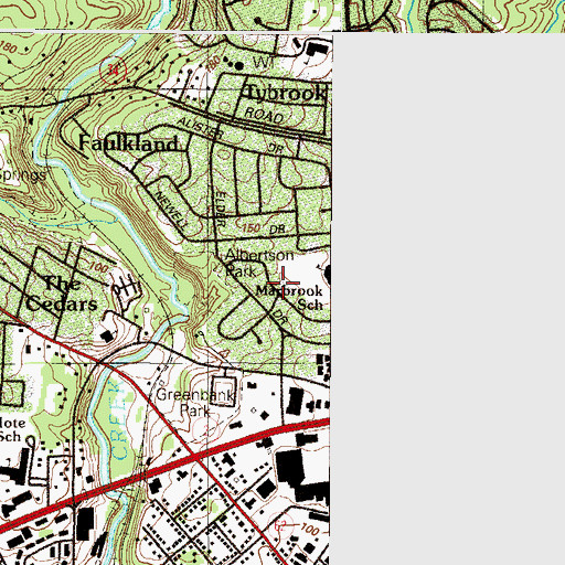 Topographic Map of Albertson Park, DE