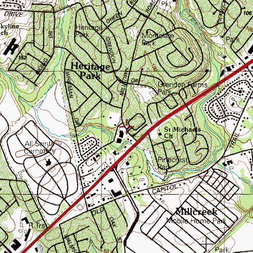 Topographic Map of Wood Mill, DE