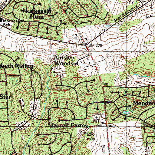 Topographic Map of Ainsley Woods, DE