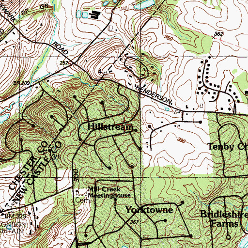 Topographic Map of Hillstream, DE