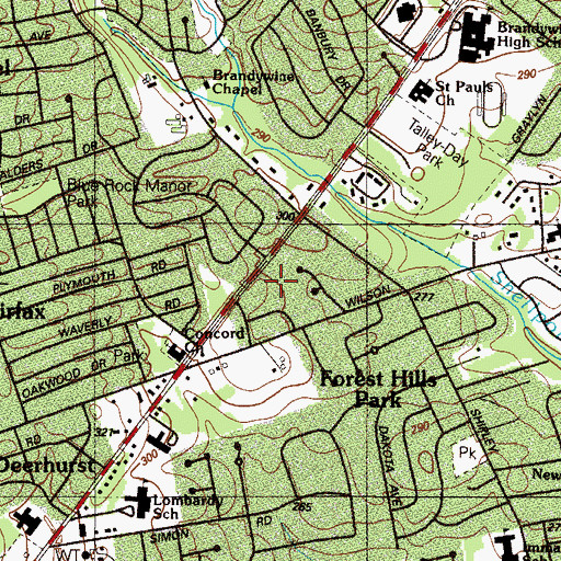 Topographic Map of Bellewood, DE