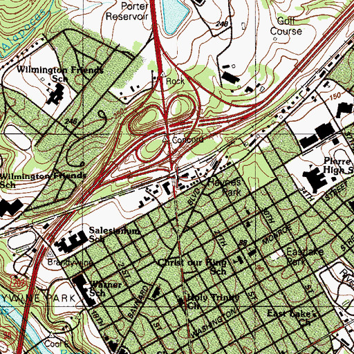 Topographic Map of Concord, DE