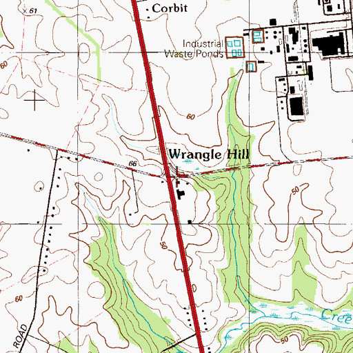 Topographic Map of Wrangle Hill, DE
