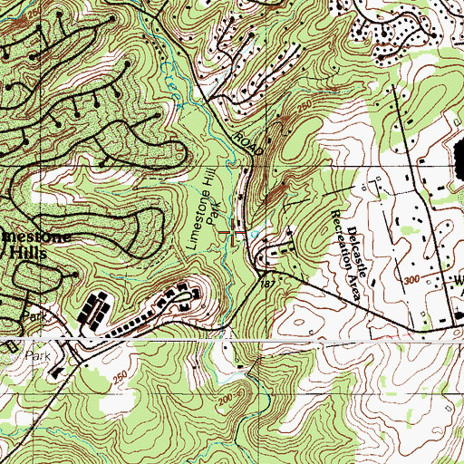 Topographic Map of Limestone Hills Park, DE