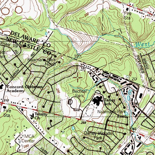 Topographic Map of Betchtel Park, DE