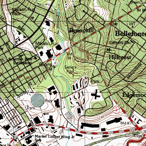 Topographic Map of Sellers Park, DE