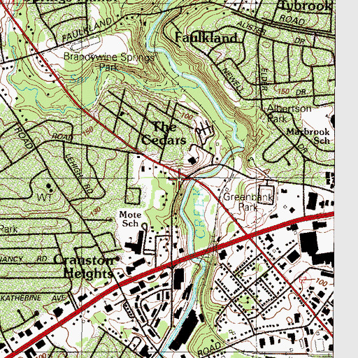 Topographic Map of Greenbank, DE