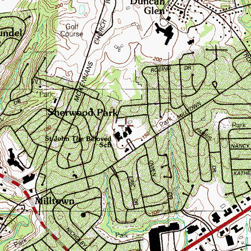 Topographic Map of Sherwood Park, DE