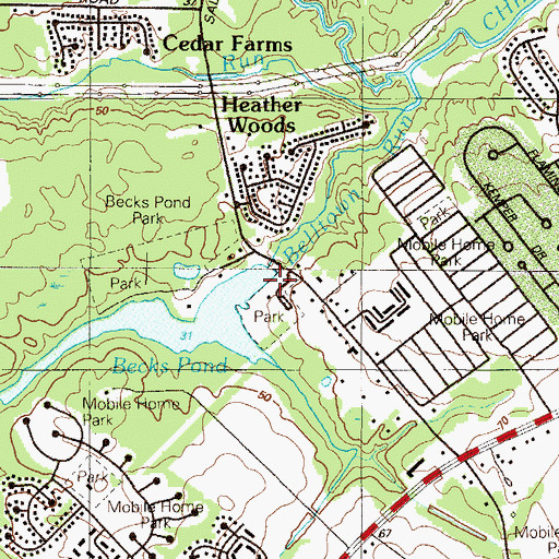 Topographic Map of Becks Pond Dam, DE