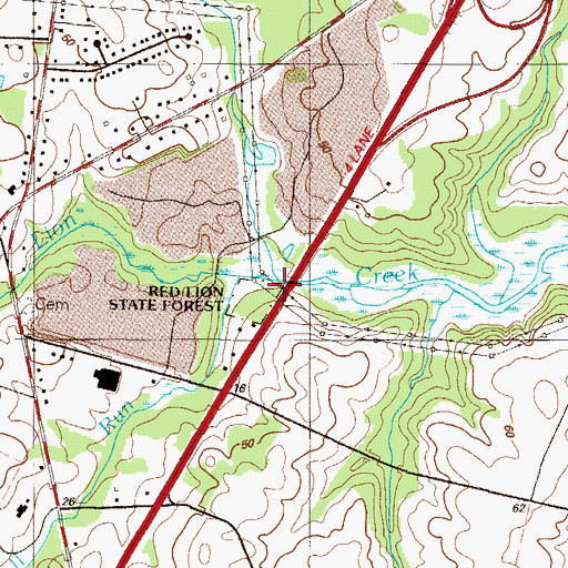 Topographic Map of Pigeon Run, DE
