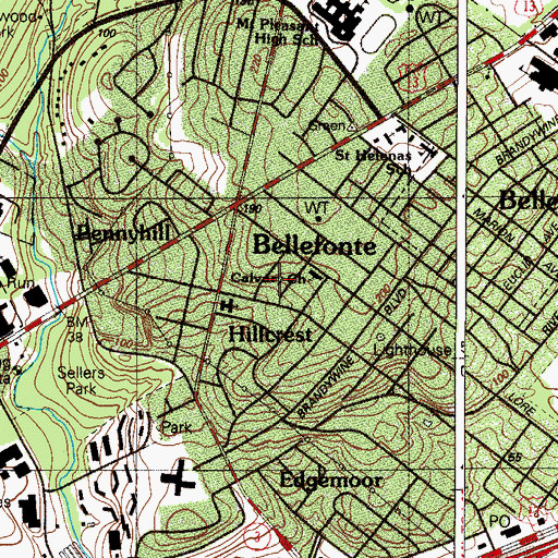 Topographic Map of Pennyhill Terrace, DE