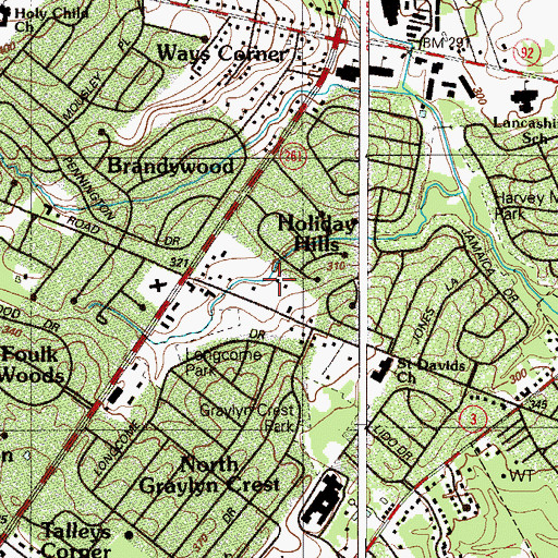 Topographic Map of Holiday Hills, DE