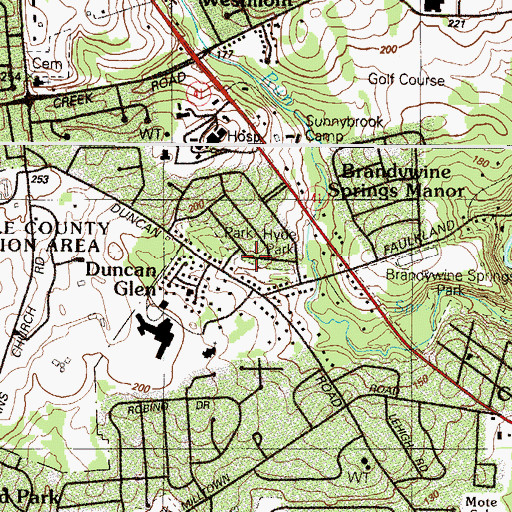 Topographic Map of Hyde Park, DE