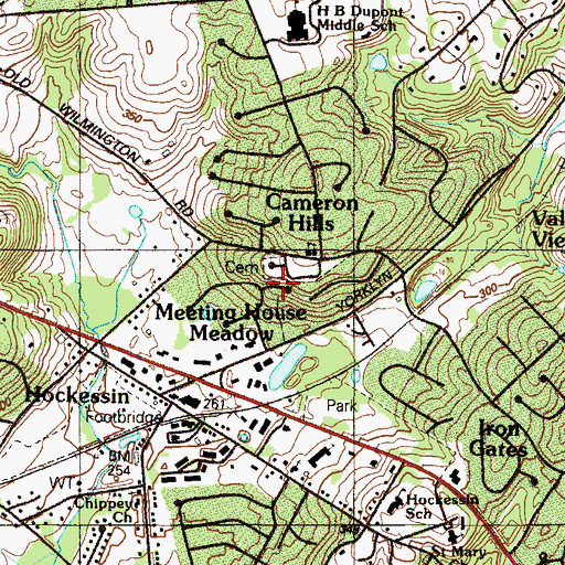 Topographic Map of Meeting House Hill, DE