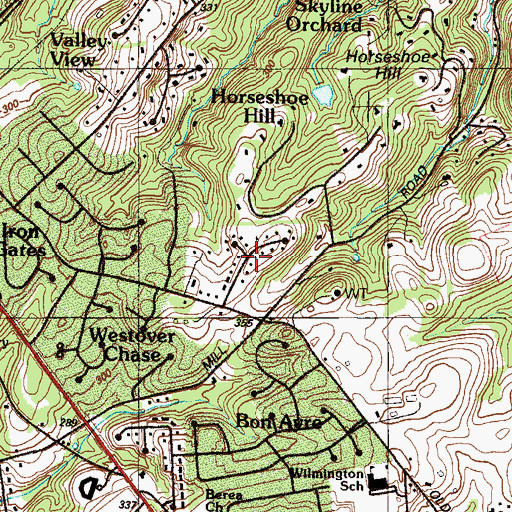 Topographic Map of Highland Meadows, DE