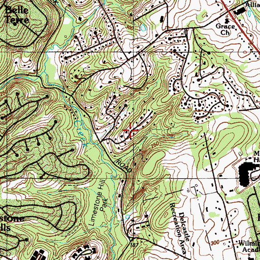 Topographic Map of Mockingbird Hills, DE
